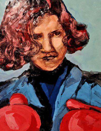 "Deborah Whitney, The Pugilist, 2019, oil paint and encaustic wax on birch panel, 20""x20""x1½"""