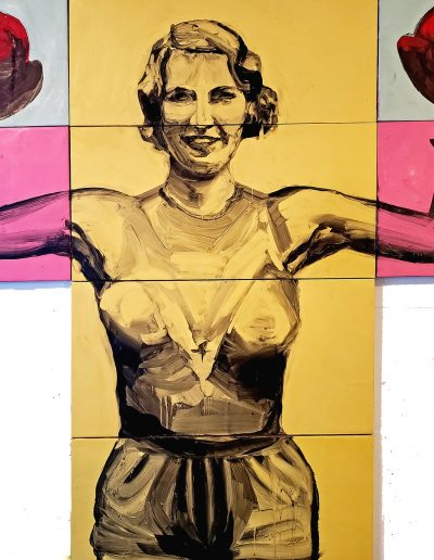 "Deborah Whitney, Pump, 2019, oil paint and encaustic wax on birch panel, 48""x48""x1½"""
