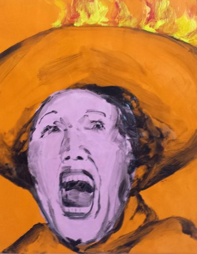 """Deborah Whitney, Woman with a Hat on Fire, oil paint and encaustic wax on birch panel, 16x16x1½"""""""