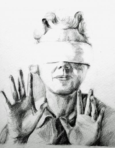 """Deborah Whitney, Blindfold, 2019, Graphite on Strathmore 400 Series paper, 10""""x7½"""""""