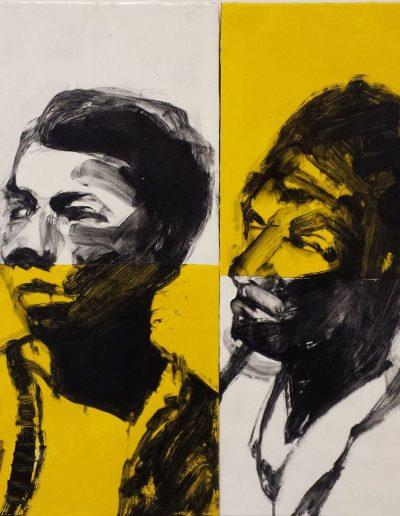"Deborah Whitney, Witness, 2015, oil paint and encaustic wax on birch panel, 19½""x39""x1½"""