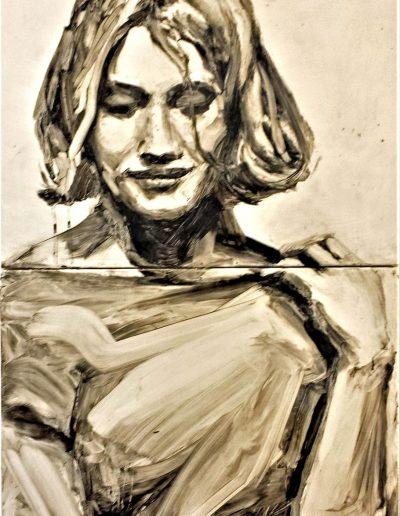 "Deborah Whitney, Dreamer, 2014, oil paint and encaustic wax on birch panel, 36""x18""x1½"""