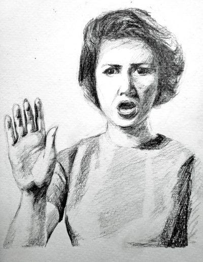 "Deborah Whitney, Talk to the Hand, 2019, Graphite on Strathmore 400 Series paper, 10""x7½"""