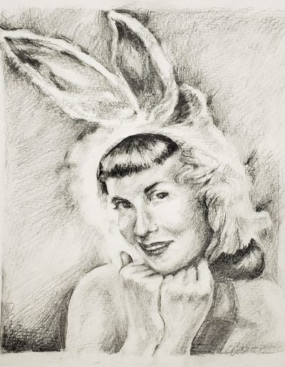 "Deborah Whitney, Smart Bunny, 2019, Graphite on Strathmore 400 Series paper, 10""x7½"""
