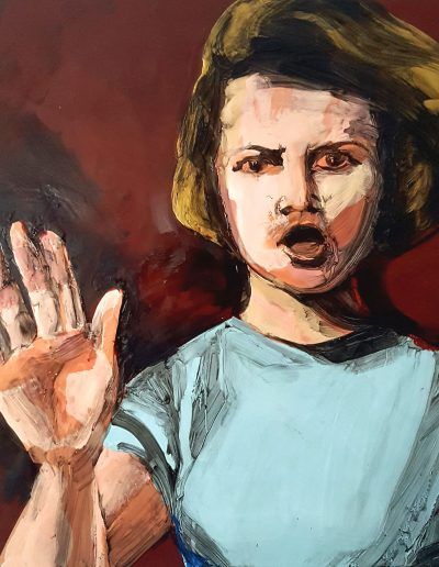 """Deborah Whitney, Talk to the Hand, 2018, oil paint and encaustic wax on birch panel, 16""""x16""""x1½"""""""