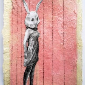 """Deborah Whitney, Bunny, 2019, graphite collage on tissue and Japanese rice paper, 7""""x5"""""""