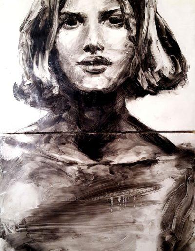 "Deborah Whitney, Awake, 2014, oil paint and encaustic wax on birch panel, 36""x18""x1½"""