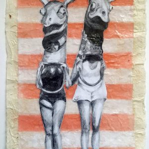 """Masquerade of Inviolability #1, 2019, graphite collage on tissue and Japanese rice paper, 7""""x5"""""""