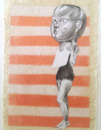 """Big Mask 2, 2019, graphite collage on tissue and Japanese rice paper, 7""""x5"""""""
